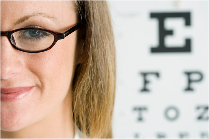 Eye glasses and Snellen chart