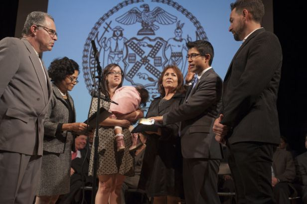 City Councilmember Carlos Menchaca Taking Oath of Office Photo Credit: William Alatriste