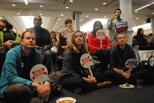 New Yorkers for Real Immigration Reform (NYRIR) viewing party in Manhattan at 32BJ SEIU. Link to NYIC page at bottom of article
